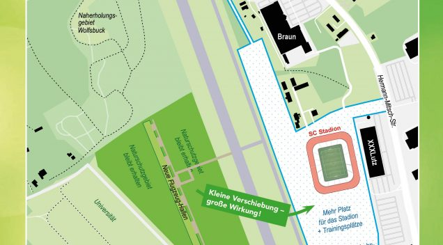 SC-Stadion könnte sehr schnell auf dem Flugplatz fertig werden (als gespiegelte Version)…